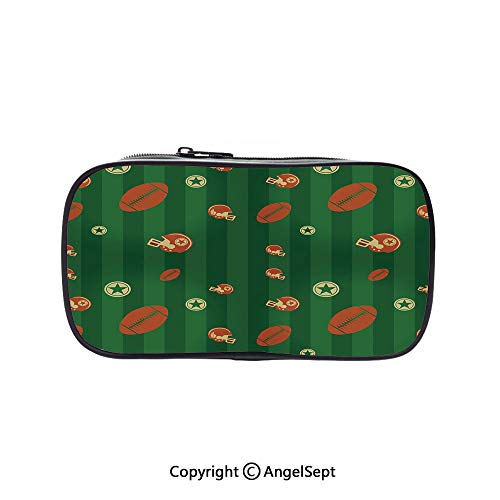 Pen Case Office College School Large Storage,Old Fashioned Composition with Green Stripes Rugby Icons Graphic Green Hunter Green Cinnamon 5.1inches,Box Organizer New Arrival