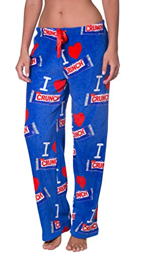 Licensed Women's Warm and Cozy Plush Pajama/Lounge Pants (Large, Crunch)