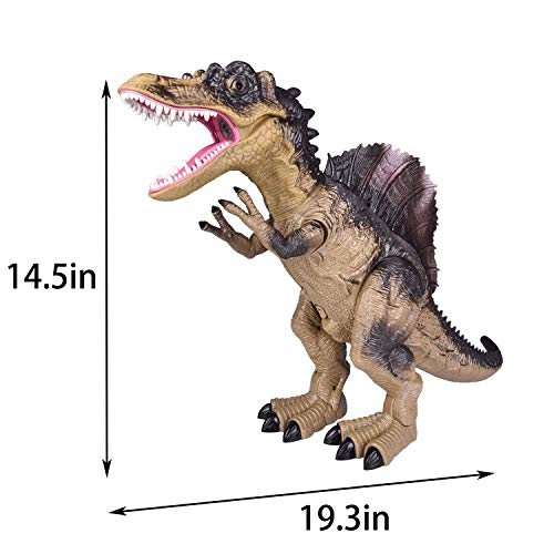Dinosaurio de control remoto para niños, caminata electrónica y niebla de pulverización Dinosaurio Spinosaurus grande con ojos brillantes, cabeza sacudida, sonido de dinosaurio rugiente, juguete de dinosaurio robot realista de 18.5 pulgadas para niños
