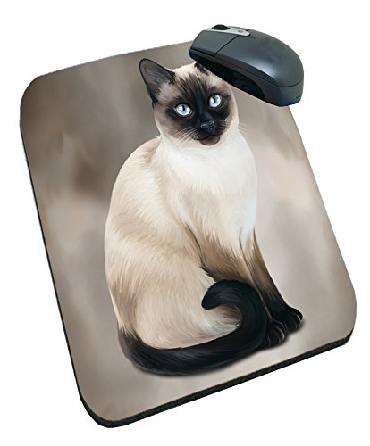 Thai Siamese Cat Art Portrait Print Mousepad