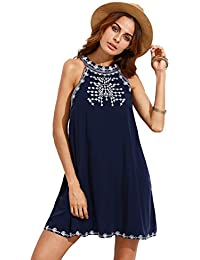 Women's Embroidered Tie Back with Pockets Casual Tunic Halter Dress Sundresses