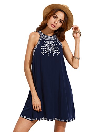 MAKEMECHIC Women's Embroidered Tie Back with Pockets Casual Tunic Halter Dress Sundresses Blue ()