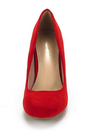 Paires De Rêve Arpel / Berry Formel Soirée Danse Strass Classique Bas Talon Pompes Chaussures Nouveau Arpel-rouge