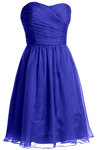 MACloth Women Strapless Short Bridesmaid Dress Wedding Cocktail Party Gown Azul Real