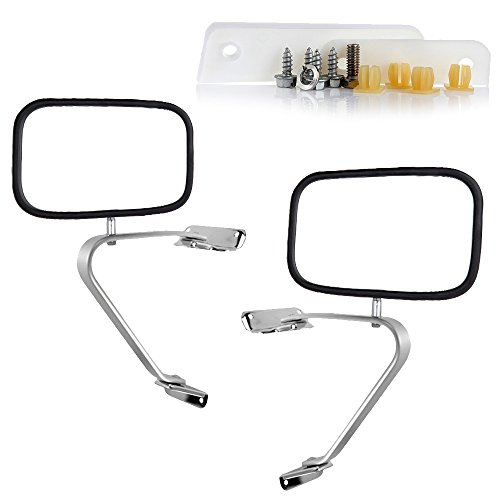 ECCPP Towing Mirrors Replacement fit 80-96 Ford F-Series F150 F250 F350 Bronco Chrome Manual Pair Truck SUV Pickup Mirrors