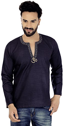 Maple Clothing Embroidered Cotton Men's Short Kurta Shirt Indian Clothing (Blue, L)