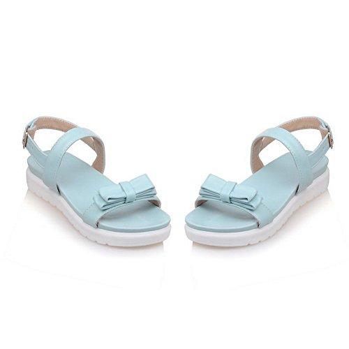 Odomolor Mujeres Sólido Hebilla Puntera Abierta Mini Tacón Sandalia con Pajarita Azul