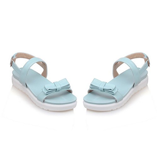 AgooLar Mujeres Mini Tacón Puntera Abierta Sólido Hebilla Sandalia Azul