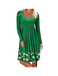 Naladoo Women Pleated Floral Dress Long Sleeve T-Shirt Dress Casual Party Dress