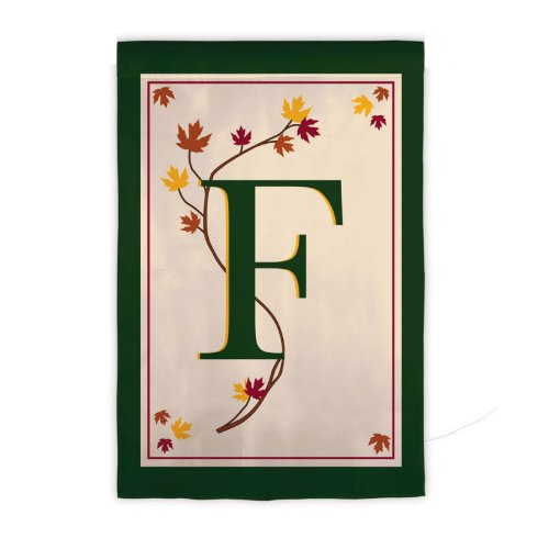 Sized Monogram Flag - Garden Sized Monogram Flag: Fall Leaf - F