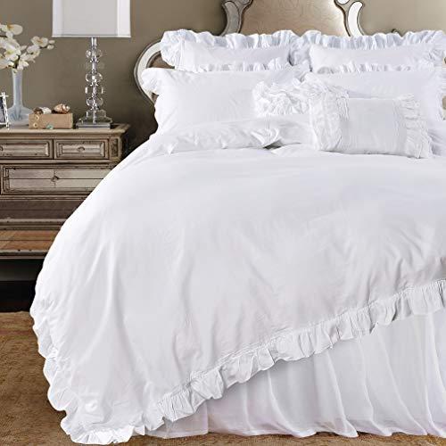 Queens House 3-Piece White Duvet Cover Queen Set-Shabby Ruffles
