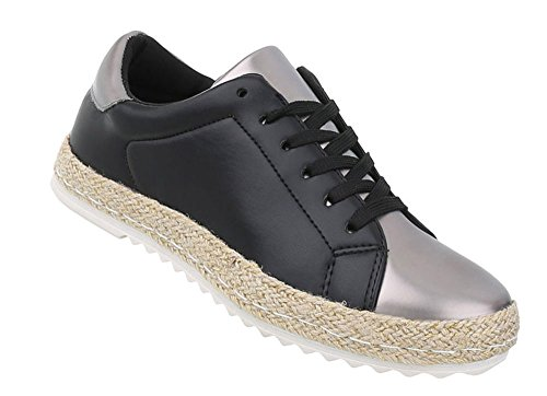 Schuhcity24 Damen Schuhe Freizeitschuhe Sneakers Schwarz