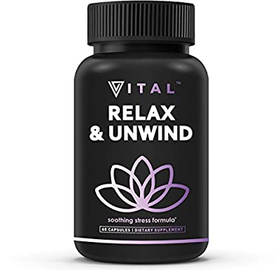 Relax Unwind Soothing Stress Reduction Formula by Vital Vitamins – 60 capsules – Stress Support Dietary Supplement – Calm Mind & Body – Improve Mood, Focus & Energy – Vitamin B, Niacin, Ashwagandha