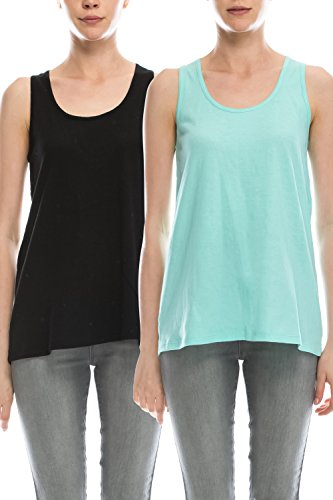 Cotton Womens Activewear Set (EttelLut Loose Fit Relaxed Flowy Knit Tank Top: workout jersey sexy cheap pack Black/Mint XL)
