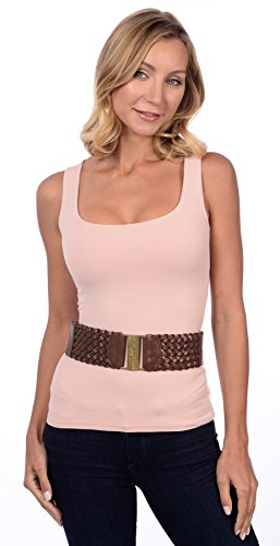 Womens Gorgeous Braid Detail Stretch Belt Brown Small