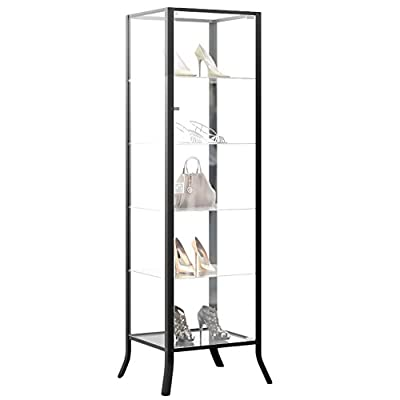 Curio Cabinet Display with Glass Door and Lock for Collectibles and Other Items to Showcase , Durable Black Steel Frame with Industrial to Contemporary Look