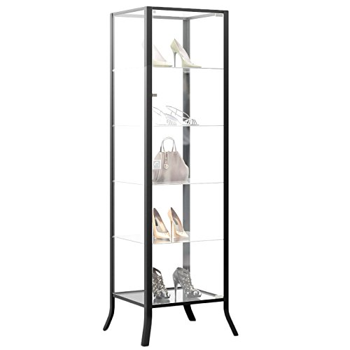 Curio Cabinet Display with Glass Door and Lock for Collectibles and Other Items to Showcase , Durable Black Steel Frame with Industrial to Contemporary Look - Glass Display Showcase