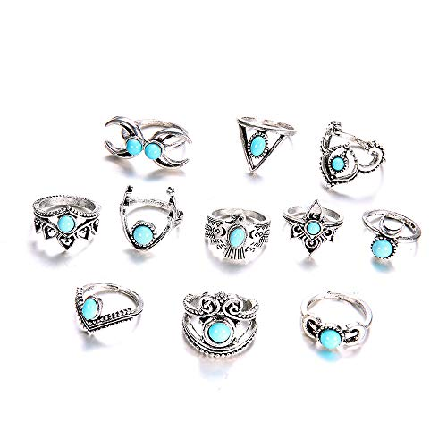 FEDULK 11 Pcs Vintage Knuckle Ring Set for Women Girls Stackable Rings Set Hollow Carved Flowers Owl Jewelry