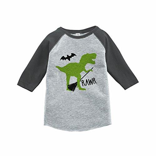 7 ate 9 Apparel Boy's Dinosaur Halloween Raglan Tee Grey 5T ()