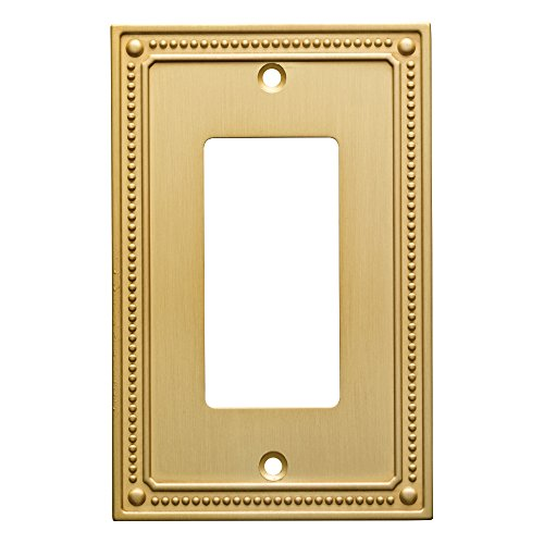 Brass Cover (Franklin Brass W35060-BB-C Classic Beaded Single Decorator Wall Plate/Switch Plate/Cover, Brushed Brass)
