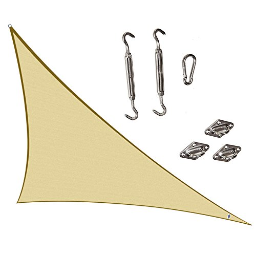 Cool Area Right Triangle 16'5'' X 16'5'' X 22'11'' Sun Shade Sail with Stainless Steel Hardware Kit, UV Block Fabric Patio Patio Shade Sail in Color Sand