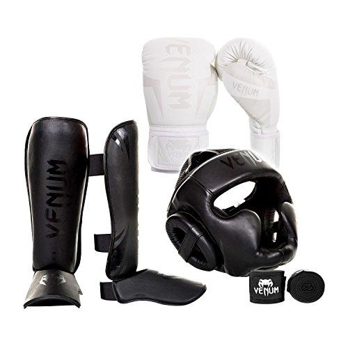Headgear Kit - Venum Elite Challenger 2.0 Boxing Gloves Kit - White/White Gloves, Black/Black Shinguards, Black/Black Headgear, Black Handwraps - 10-Ounce Gloves, Large Shinguards