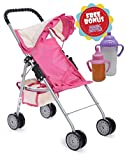 Exquisite Buggy, My First Doll Stroller Pink & Off-White with Basket in the bottom