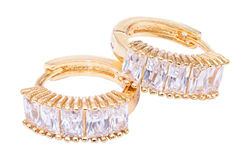 - Gorgeous Gold Plated Ear Hugging Hoop Earring Austrian Crystals Lever Back