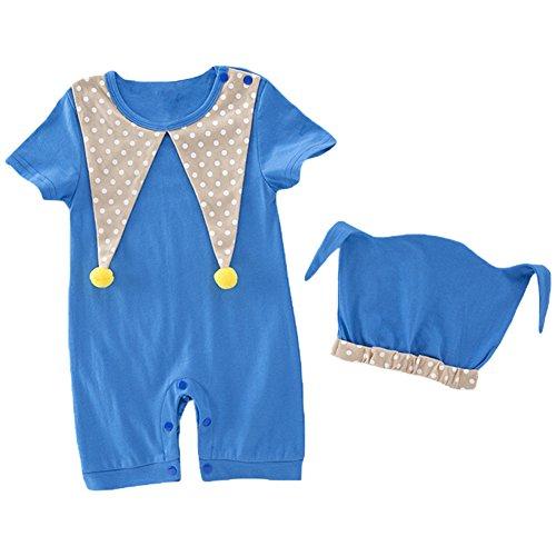 Soojun Baby Girls Boys Clown Costume Toddler Jumpsuit Halloween Romper and Cap Set, Red, 9-12 (Clown Overalls Costume)