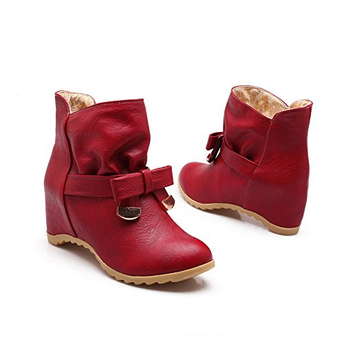 Closed Red Solid Women's PU Round Heels Low High Boots Top Toe AmoonyFashion wPE8Cqw