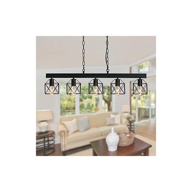 XIPUDA Farmhouse Pendant Lighting Fixture Industrial Kitchen Island Light Fixture, 5-Light Rustic Dinning Room…