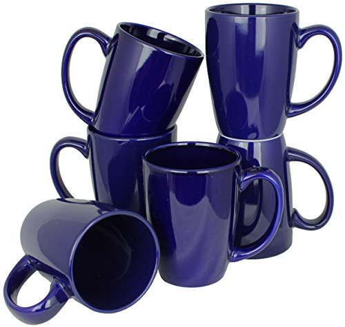 - ITI Ceramic Endeavor Coffee Mugs with Pan Scraper, 14 Ounce (6-Pack, Cobalt Blue)