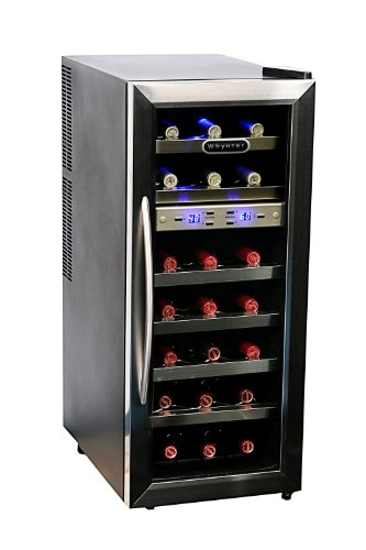 Whynter WC-211DZ 21 Bottle Dual Temperature Zone Wine Cooler, Stainless Steel Trimmed Glass Door with Black Cabinet (Wine Cabinet Temperature)