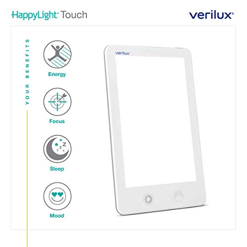 Verilux HappyLight VT32 Touch 10,000 Lux LED Bright White Light Therapy Lamp with Adjustable Color and Brightness Controls
