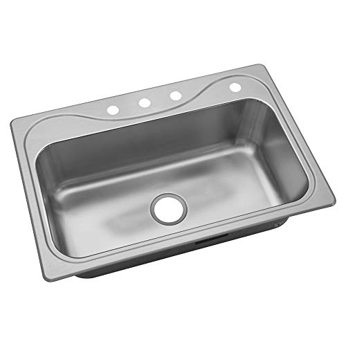 STERLING 37047-4-NA Southhaven 33-inch by 22-inch Top-mount Single Bowl Kitchen Sink, Stainless Steel