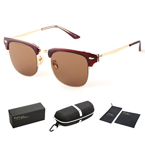 Dollger Classic Polarized Sunglasses Half Frame Horn Rimmed(Brown Lens+ Red Frame)