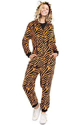 Unisex Adult Pajamas Tiger Animal Onesie Costume (L/XL, Plush Tiger)]()