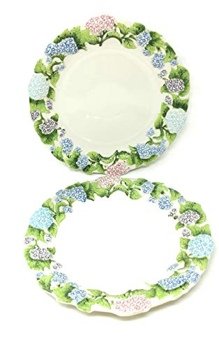 Temp-tations Set of 2 Hand Painted Stoneware Dinner Plate (Figural Floral Hydrangea) 2 Hand Painted Plates