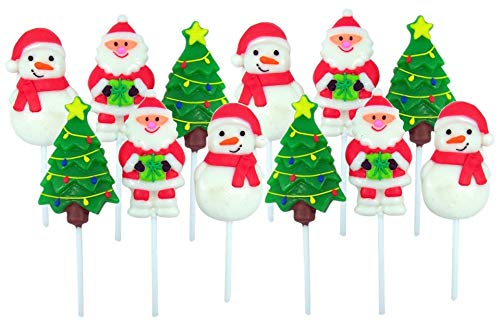 Assorted Christmas Candy Lollipop Suckers, Fruit Punch, Pack of 12 -