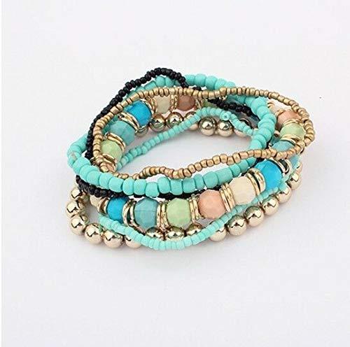 (Women Jewelry Bead Strand Elastic Bracelet Multilayer Bangle Bracelet Light Blue)