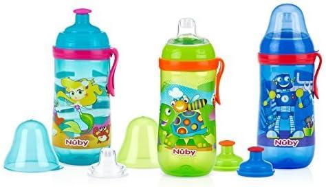 Enfant Sipeez Busy Gobelet avec paille Tasse FOM /Épauli/ère Nuby 360/ml minimum 18/m Robots sans BPA Bleu