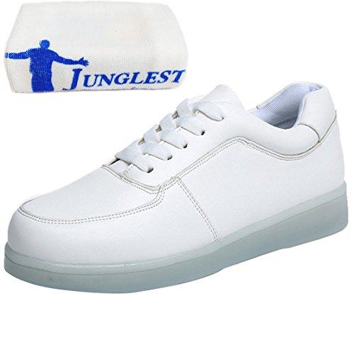 [Presente:pequeña toalla]JUNGLEST® Mujer Zapatillas Deportivas Planos con Luz LED Blanco