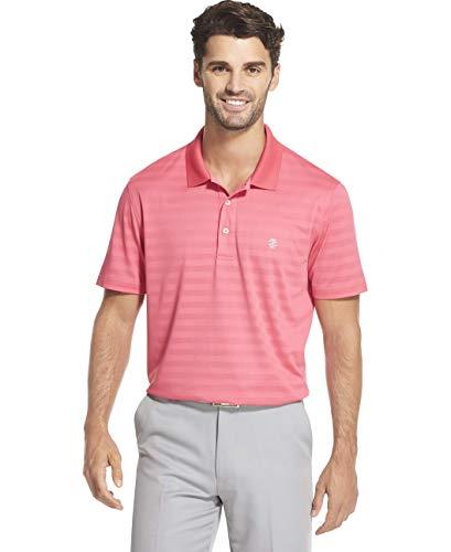 IZOD Men's Golf Clubhouse Short Sleeve Stripe Polo, honeysuckle1, Medium