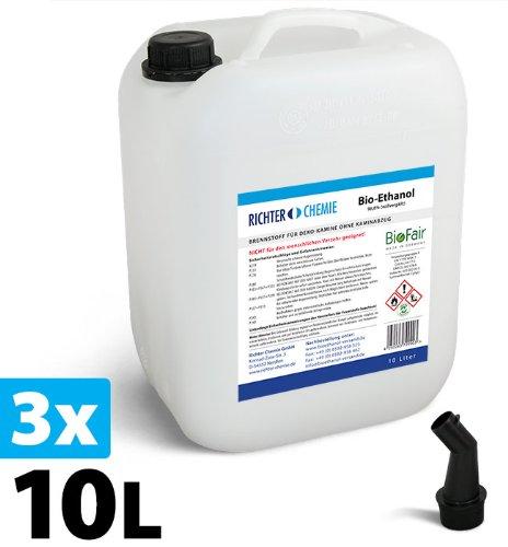 30L Bioethanol 96, 6% - - Markenprodukt BioFair® - geprüfte Laborqualität - GRATIS VERSAND Richter GmbH 3 x 10L Kanister
