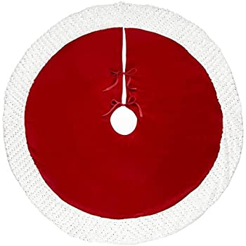 Nantucket Distributing Holiday Red Velvet Christmas Tree Skirt with Faux  Fur Trim