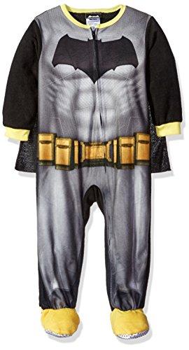 Toddler Fleece Bat Costumes (DC Comics Little Boys' Toddler Fleece Batman Blanket Sleeper with Cape, Black, 4T)