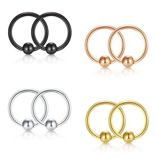 JFORYOU 8 Pcs Cartilage Earrings Set Ear Piercing 16G Captive Bead Ring Cartilage Hilix Tragus Earrings Body Piercing Jewelry