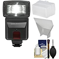 Precision Design DSLR300 High Power Auto Flash with Diffuser + Reflector + Kit for Canon EOS 70D, 7D Mark II, Rebel T3, T3i, T5, T5i, T6i, T6s, SL1 Cameras