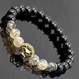 FidgetFidget Beaded Mens Fashion Natural Black Agate Dragon Veins Gold Lion Head Bracelet