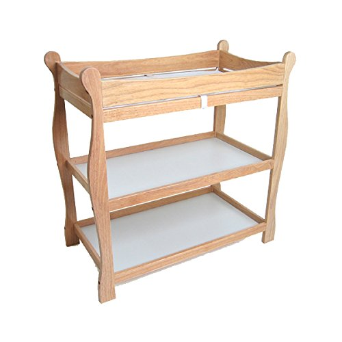Badger Basket Natural Sleigh Style Baby Changing Table - Natural Changing Table